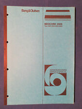 B & O BEOCORD 2000 SERVICE MANUAL ORIGINAL FACTORY ISSUE GOOD CONDIITON