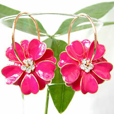 Navachi Rose Red Enamel Flower 18K GP Crystal Hoop Earrings BH2424