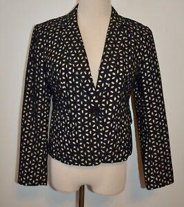 New Ann Taylor Loft Blazer Sz 2 Cotton Black Layered Cutout Button Jacket Lined
