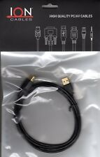 Ion Cables USB Extension Cable 6FT A/A M/F Black With Gold Plated Connector