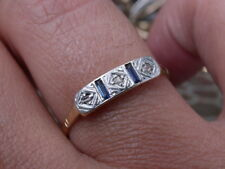 ANTIQUE ART DECO 18K GOLD PLATINUM GENUINE DIAMOND SAPPHIRES RING nr comb shipp
