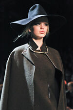 LANVIN F/W 2011 RUNWAY Charcoal Gray Cartwheel Wide Brim Rabbit Felt Hat S/56/7