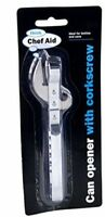CHEF AID BOTTLE & CAN OPENER WITH CORKSCREW W2144