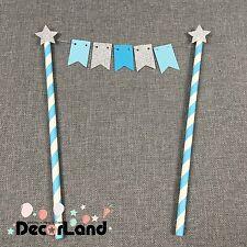Happy Birthday Blue mini Cake Bunting Topper Flag Birthday Party Baby Shower