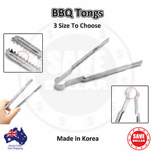 5pc BBQ Stainless Steel Tongs Large Long Clamp Kitchen Food Korean Made