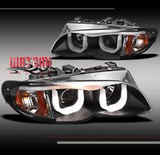 02-05 BMW E46 3-SERIES 4DR 3D DRL LED PROJECTOR HEADLIGHTS BLACK W/EYE LIP 03 04