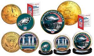 Super Bowl 52 NFL Champions PHILADELPHIA EAGLES 24K Gold Plated 3-Coin US Set