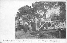 B86287 un pont a khong  women child enfant  lao laos indochina types folklore