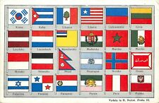 Vintage Czech Postcard Flags of the World from Korea to Poland Unposted