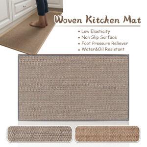 Linen Non-slip Mat Kitchen Floormat Washable Carpet Woven Rubber Back Doormat
