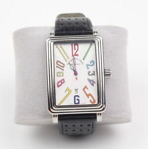 Vintage Stuhrling Swiss Manhattan Ozzie Men's Watch Black Leather Band
