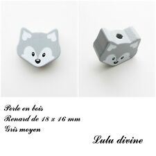 Perle en bois de 18 x 16 mm, Perle plate petite Tête de renard : Gris moyen