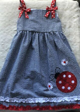 Rare Editions Girls Ladybug Floral Print Dress Bows 6X Red White Blue