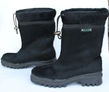 PAJAR - Black Fur Boots - EU 37 US 6 - 6.5 Women's Winter Fashion Snow Italy