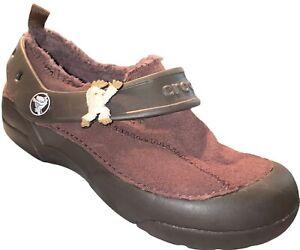 Crocs Dawson Shoes Clogs Boys Slip On Lined Suede Brown Sasquatch Sz 1 J1 PN