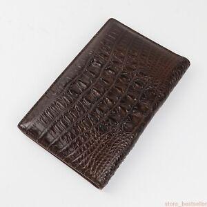 Genuine Crocodile Alligator Skin Leather Passport Holder Wallet Dark Brown