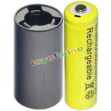 1x AA 3000mAh YEL Ni-MH batteria ricaricabile+1xC Batteria Converter Adapter