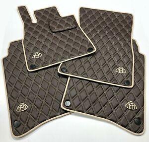 Maybach S600, S560 espresso brown/ silk beige Eco Leather custom floor mats.