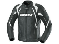 iXS Lederjacke Darren | Schwarz-Weiß | Motorradjacke aus Rindsleder