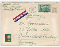 United States 1952 Airmail to Germany Muscatine Cancel TB Stamps Cover Ref 23464