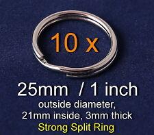 10x VERY STRONG Split Key Ring 25mm keyring silver nickel loop, Free UK P&P