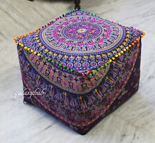 "New 18"" Square Multi Camel Mandala Decorative Pouf Cover Seating Ottoman Covers"