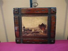 "Portrait miniature Antique Oil Board Train Station Wood Signature 8"" X 7"""