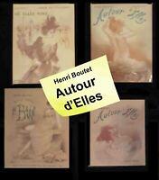 """1897 French Erotica """" Autour d'Elles """" by Henri Boutet 4 vol. over 100 pict. HC"""
