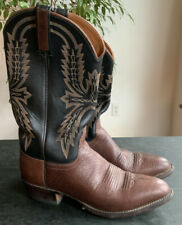 Lucchese 2000 Mens Boots 8.5 D Two Tone Leather Western Almond Toe