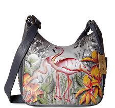 Anuschka™ All Leather Small Crossbody w/ side Pockets- Flamboyant Flamingos
