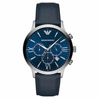 NEW Emporio Armani Blue Dial Chronograph Date Navy Leather Mens Watch AR11226