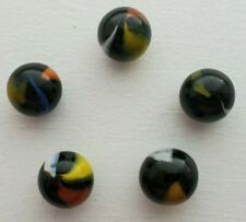 MINT 5 VINTAGE BEAUTIFUL BLACK MULTICOLOR SWIRL MARBLES 1970S & 1980S