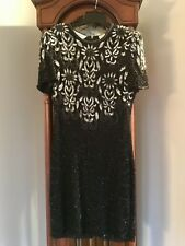 Dress Woman's Bead Sequence Dress Black Silk Size M Christmas Party New Years