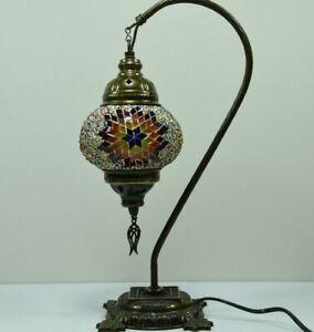 Swan neck Lamp Turkish Mosaic Handmade Multi-Color Glass, Rainbow desk bedside