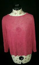 Sarah Arizona Fuchsia 3/4Sleeve Silky Loose Fit Oversized Cropped Top Blouse