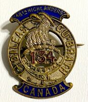 VINTAGE WWI Canada 48th Highlanders 134th Overseas Battalion CEF Enameled Badge