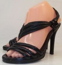 Van Eli Wos Shoes US7M Black Leather Strappy High Heel Open-Toe Dress Sandals
