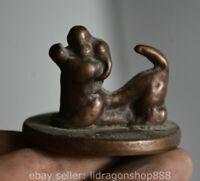 5.2CM Marqué Vieux Chine Bronze Dynastie Chien Animal Statue Sceau Rond