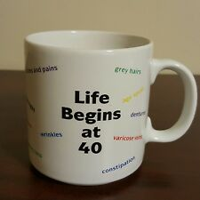 Signs of Aging Funny Older Adult Happy Birthday Coffee Mug Life Begins At 40
