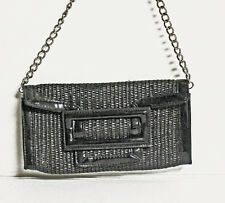 WHITE HOUSE BLACK MARKET Woven Black Straw & Patent Clutch Handbag Purse
