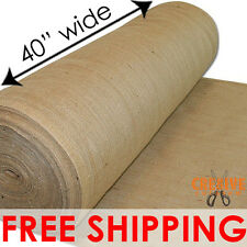 "40"" WIDE x 100 YARDS - NATURAL BURLAP VINTAGE JUTE FABRIC UPHOLSTERY & CRAFTS"