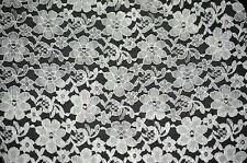 LACE RACHELLE LACE FLOWER MESH SHEER POLYESTER HOME DECOR- WHITE BY THE YARD