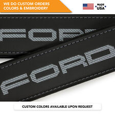 Car Seat Belt Covers Leather Shoulder Pads Gray Embroidery Ford Super Duty