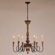 Retro 6-Light Candelabra Rust Metal Distressed Wooden Chandelier Suspended Lamp