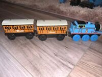 Thomas The Tank Engine Wooden Train With Annie And Clarabel fits on Brio track