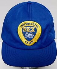 Vtg 1980s SEX SOUTH EASTERN XPRESS Fort Worth Texas ADVERTISING SNAPBACK HAT CAP