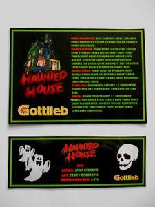 * * 'HAUNTED HOUSE' Gottlieb 1982 Custom Instruction/Apron Cards (New) * *
