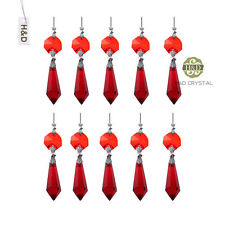10pcs Crystal Icicle Drop Prism With Red Octagonal Beads Suncatcher Favors
