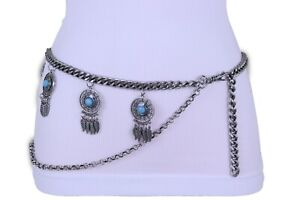 Women Antique Belt Silver Metal Chain Feather Turquoise Beads Charms Plus XL XXL