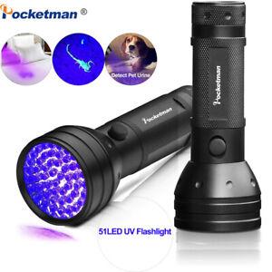 51 LED 395nm UV LED Flashlight Inspection Light AA Detector Dog Urine Pet Stain